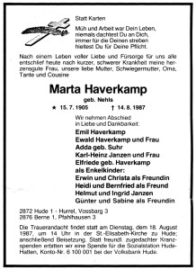 8564 Marta Haverkamp Traueranzeige