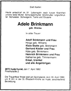 Adele Brinkmann Traueranzeige