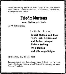 Traueranzeige Frieda Martens NWZ