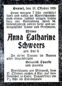 IF Schweers, Anna Catharina Traueranzeige