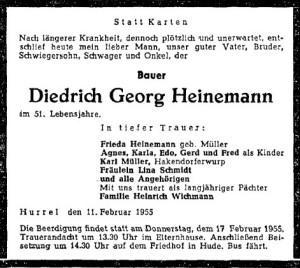 Traueranzeige NWZ vom 14. Februar 1955