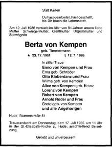 Berta von Kempen Traueranzeige NWZ 15. Juli 1986