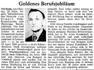 NWZ-Artikel von 1954 Berufsjubiläum