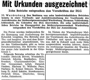 Artikel NWZ 1962. 9. Januar Auszeichnung