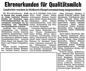 Artikel NWZ 1976, 28. Juli Auszeichnung Milchverein