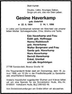 Traueranzeige NWZ 16. Januar 1996 Gesine Haverkamp groß