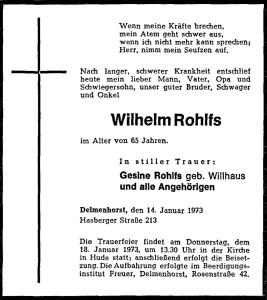 Traueranzeige NWZ Wilhelm Rohlfs vom 16. Januar 1973