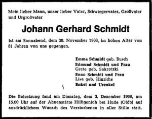 Traueranzeige Gerhard Schmidt vom 6. Dezember 1968